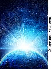 azul, tierra, en, espacio, con, sol creciente