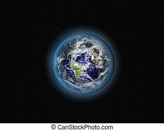 azul, tierra, en, espacio