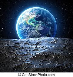 azul, tierra, vista, de, superficie luna