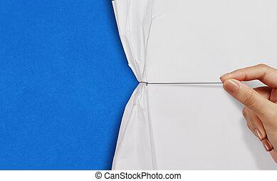 azul, tirón, exposición, mano, soga, papel, plano de fondo,...