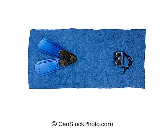 azul, toalha, foto, topo, equipamento, snorkeling, praia, mentindo, vista