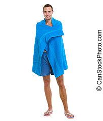 azul, toalha, jovem, embrulhado, homem, praia, feliz