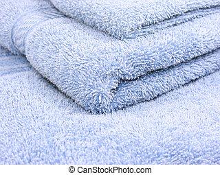 azul, toalhas