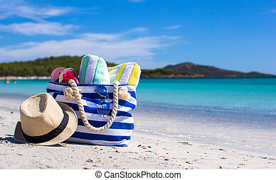 azul, toalla, paja, capirotazo, tropical, sombrero, blanco, fracasos, bolsa de playa