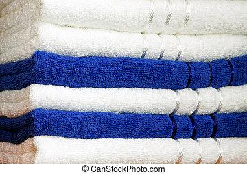 azul, toallas