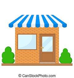 azul, toldo, vector, ilustración, ventana, fachada, edificio, escaparate, tienda, puerta, acción