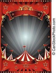 azul, topo grande, circo, céu, cartaz