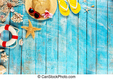 azul, topo madeira, acessórios, colocado, pranchas, praia, vista.