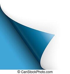 azul, torneado, fundo, sobre, /, papel, página, esquerda