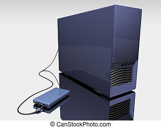 azul, torre, computadora