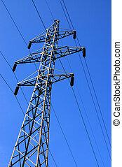 azul, torre eléctrica, cielo, plano de fondo