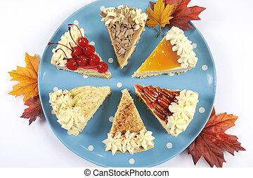azul, torta, platter, cereja, bolo queijo, maçã, ação graças, polca, leaves., contra, chocolate, outono, tabela, ponto, outono, pecan, branca, abóbora, caramelo, tempero, creme