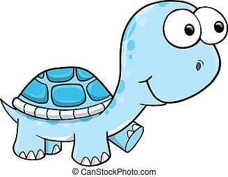 azul, tortuga, vector, tonto