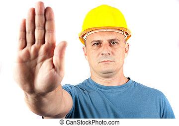 azul, trabajador, parar la muestra, elaboración, cuello