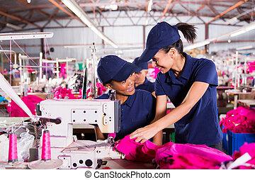 azul, trabajadores, trabajo, discutir, cuello