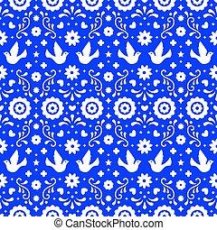 azul, tradicional, elementos, arte, mexico., padrão, folhas, ornament., fiesta, seamless, flores, experiência., desenho, folclore, ornate, floral, mexicano, partido., pássaros, povo