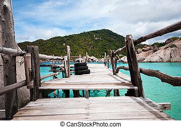 azul, transparente, mar, con, de madera, puentes