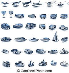 azul, transporte, iconos