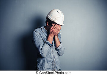 azul, trastorno, trabajador, cuello