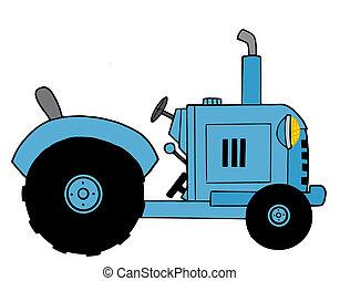 azul, trator, fazenda