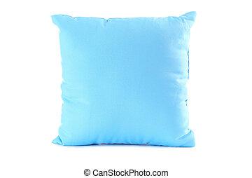 azul, travesseiro, isolado, ligado, um, branca