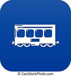 azul, trem, rapidamente, vetorial, ícone
