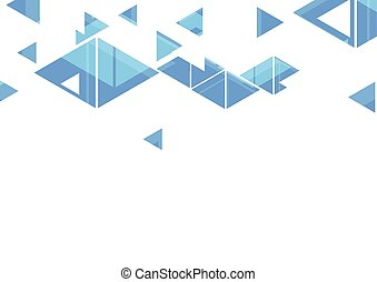 azul, triángulos, resumen, diseño geométrico