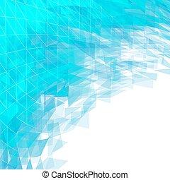 azul, triângulos, abstratos, voando, linhas, fundo, quadrados