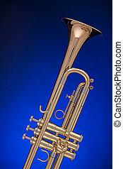azul, trompete, isolado