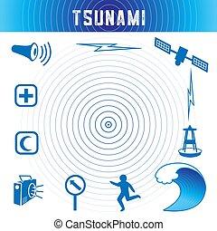 azul, tsunami, ícones, oceânicos