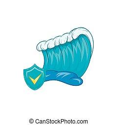 azul, tsunami, onda, ícone, em, caricatura, estilo