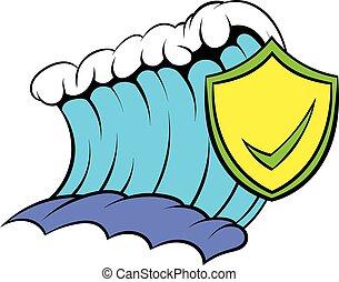 azul, tsunami, onda, e, amarela, escudo, com, carrapato, ícone