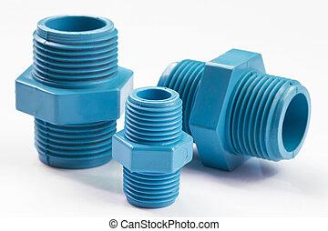 azul, tubo, pvc, conexión