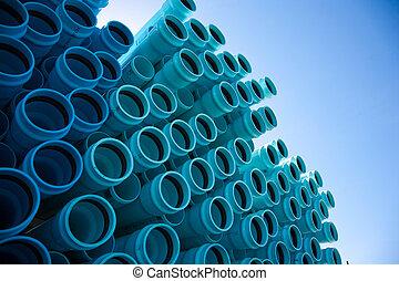 azul, tubo, pvc