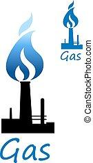 azul, tubo, símbolo, gas, llama