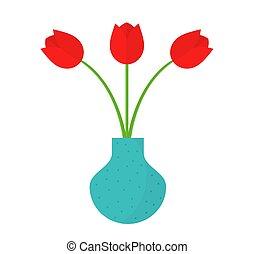 azul, tulipán, vase., flores, rojo