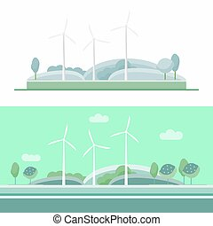 azul, turbina, jogo, vento