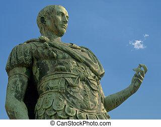 azul, turin, itália, sobre, céu, romana, caesar, estátua,...