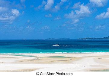 azul, turquesa, aguas, barco, mar, crucero, blanco, coral, ...
