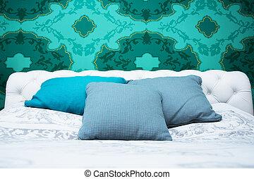 azul, turquesa, blanco, dormitorio