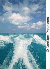 azul, turquesa, caribe, agua, estela, mar, blanco, barco