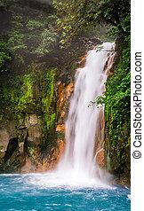 azul, turquesa, celeste, agua, río, cascada