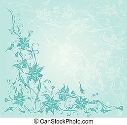 azul, turquesa, fondo verde