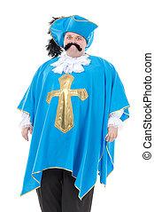 azul, turquesa, mosquetero, uniforme