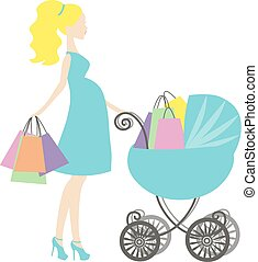 azul, turquesa, shopping mulher, fundo, grávida, vindima, mommy, modernos, venda, vetorial, stylized, bebê, logotipo, carruagem, online, mother's, branca, loja, símbolo, ícone