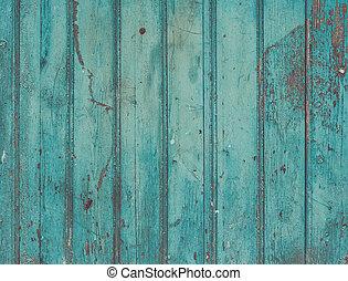 azul, turquesa, viejo, pintado, cracky, rústico, de madera, ...