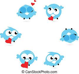 azul, twitter, isolado, cute, pássaros, corações, branco vermelho