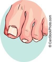 azul, uña del dedo del pie, ilustración, backround, vector, ...