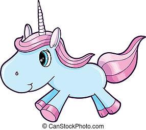 azul, unicornio, lindo, vector, animal