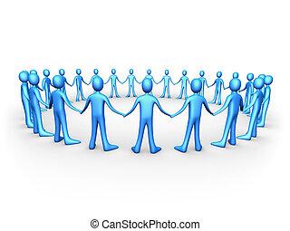 azul, unido, -, gente